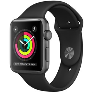 Умные часы Watch S3 42mm Space Gray Aluminum Case with Black Sport Band (MTF32)