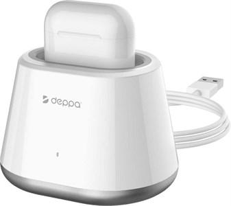 Подставка для AirPods, Deppa, в комплекте с кабелем, белый